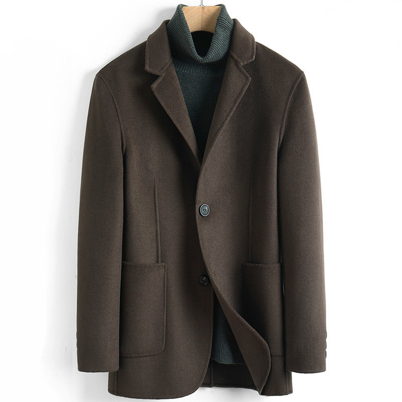 Men's Wool Coat Casual Double-sided Wool Jacket Blazer Slim Fit Mens Coats Overcoat Abrigo Hombre 2020 4885 KJ3623