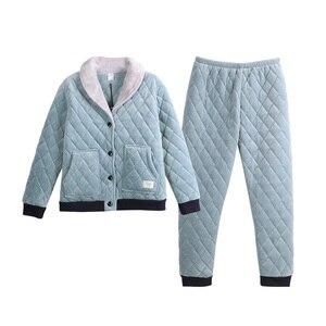 Image 5 - 2020 カップル夜のスーツ男性と女性厚いビロードパジャマセット冬パジャマホームウェア暖かいパジャマカップルマッチングパジャマ