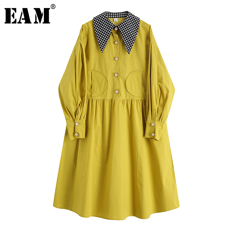 [EAM] Women Dot Printed Split Big Size Shirt Dress New Lapel Long Sleeve Loose Fit Fashion Tide Spring Autumn 2020 1S377