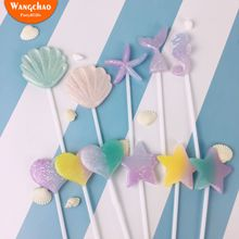 1 Set Cake Summer Ocean Resin Shell Mermaid Tail Star Love Heart Topper Decoration Birthday Party Supplies