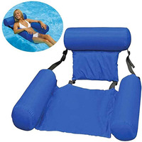 Pool water sports hammock pvc summer inflatable foldable floating row backrest air mattresses bed easy carrying lounger chair