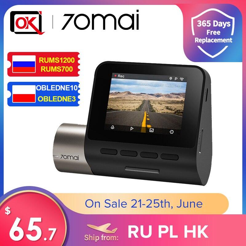 Промо код RUCN400 70mai upgrage Dash Cam Pro Plus + A500S Встроенный GPS Скорость координаты ADAS Видеорегистраторы для автомобилей A500S 24 часа в сутки для парковочн...