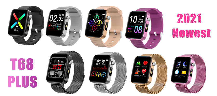 Hca00fd475d9d4c2e81cf6a7ee87c67cbv T68 Men Women Smart Watch with Body Temperature Measure Sports Fitness Watch Heart Rate Blood Pressure Oxygen Monitor Smartwatch