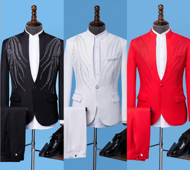 Blazer Men Groom Suit Set With Pants Standing Collar Paste Drill Mens Wedding Suits Costume Singer Stage Clothing Formal Dress