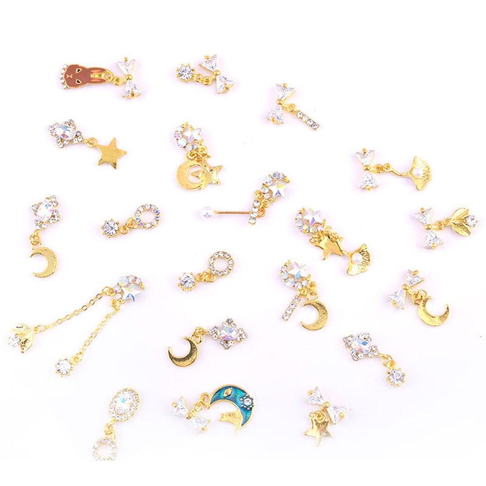 10Pcs/Set 19 Style 3D Moon/Star/Gems Chain Nail Rhinestones Jewelry Nail Art Crystal Metal Decorations Pearl Charm Pendant HJ0