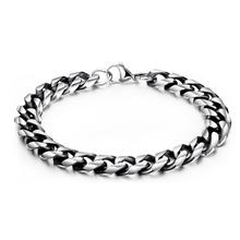 Vintage Stainless Steel Link Chain Bangle Bracelet For Man Punk Classic Cuff Hand Jewelry Gift Dropshipping new fashion punk jewelry men bracelet stainless steel cuff bangle silver hand chain black silicone wristband