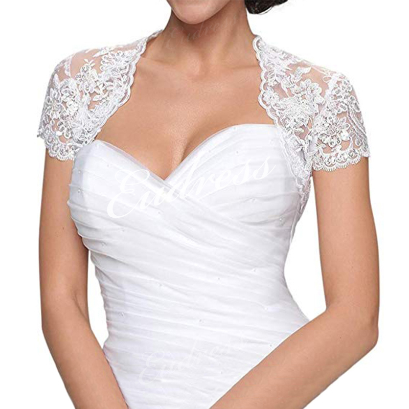 Bridal-Short-Sleeve-Bolero-Jacket-Shawl-White-Ivory-Lace-Applique-Custom-Wedding-Accessories-Jackets