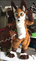 New Halloween Outdoor Party Brown Long Fur Wolf Dog Fursuit Mascot Costume Animal Cosplay Fancy Dress Unisex Adult Kid Outfit