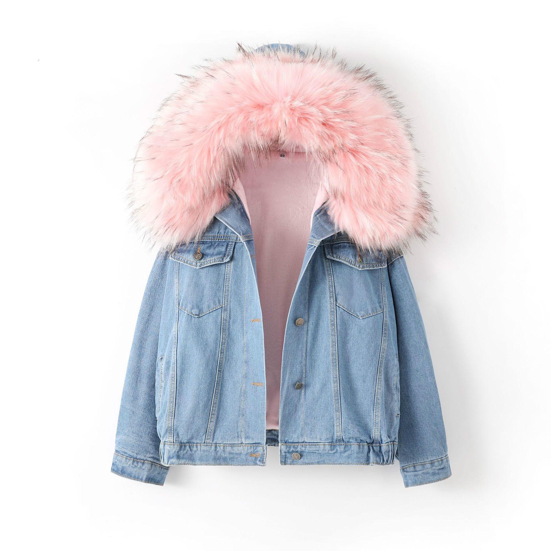 Femmes rose Denim manteau fausse fourrure col hiver fille Parka à manches longues doux mignon dames hauts lâche chaud femme surdimensionné veste