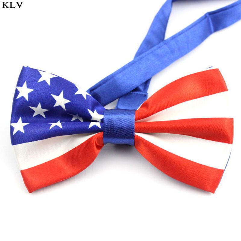 Men Imitation Silk Pre-Tied Bow Tie Stars Stripes Printed American Flag Double Layer Bowknot Adjustable Patriotic Party Props