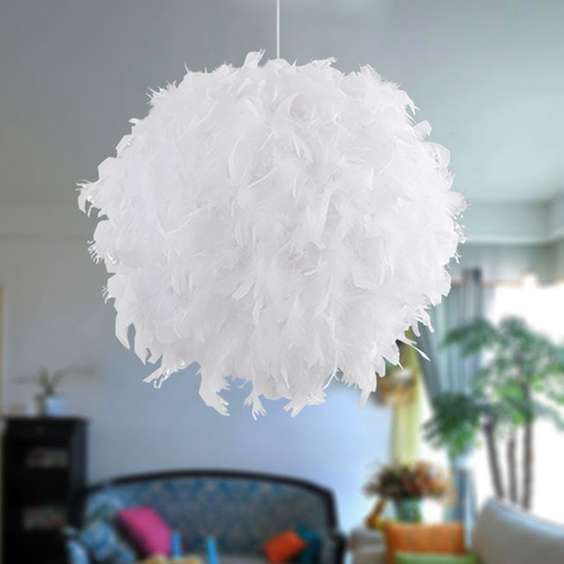 1pcs 30CM White Feather Shade Droplight Lighting Lamp Hanging Ball Bedroom Decoration LED Ceiling Light KYY1008