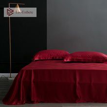 Liv-Esthete 100% Silk Wine Red Flat Sheet Silky Queen King Healthy Skin Bed Sheets Pillowcase For Women Men Kids Living