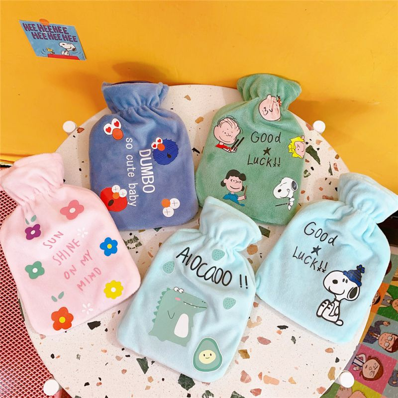 Bags Cute Cartoon Fruit Drawstring Bags Girl Plush Rubber Filling Hot Water Bottle Water Hand Warmer Portable Bag