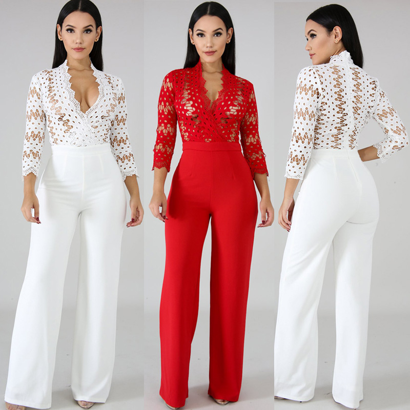 Spring New Women's Fashion Solid Color Casual Jumpsuit Long-Sleeved Hollow Romper Women One Piece Outfit Birthday Party DT1287