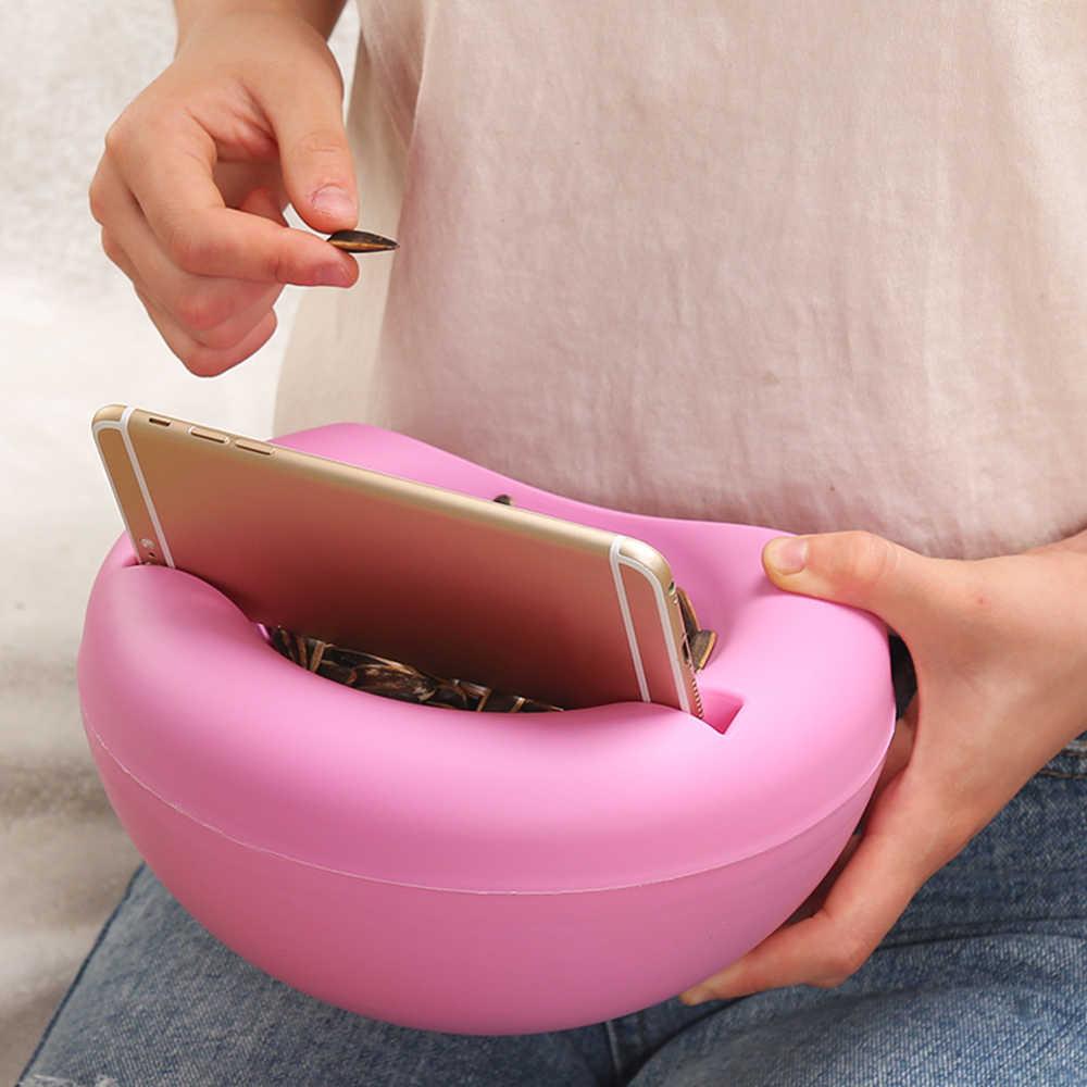1 adet Modern oturma odası yaratıcı şekli tembel aperatif kasesi plastik çift katmanlar aperatif saklama kutusu kase tembel meyve tabağı kase