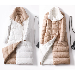 Image 4 - Duck Down Jacket Women Winter Long Thick Double Sided Plaid Coat Female Plus Size Warm Down Parka For Women Slim Clothes 2020