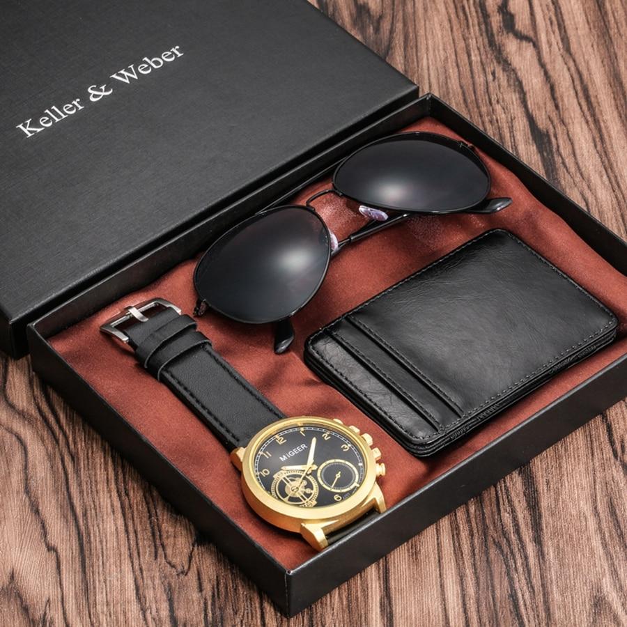 4 pièces/ensemble haut de gamme hommes montres haute qualité cadeaux ensembles pour hommes exquis carte porte crédit portefeuilles lunettes de soleil cadeaux ensemble pour hommes | AliExpress