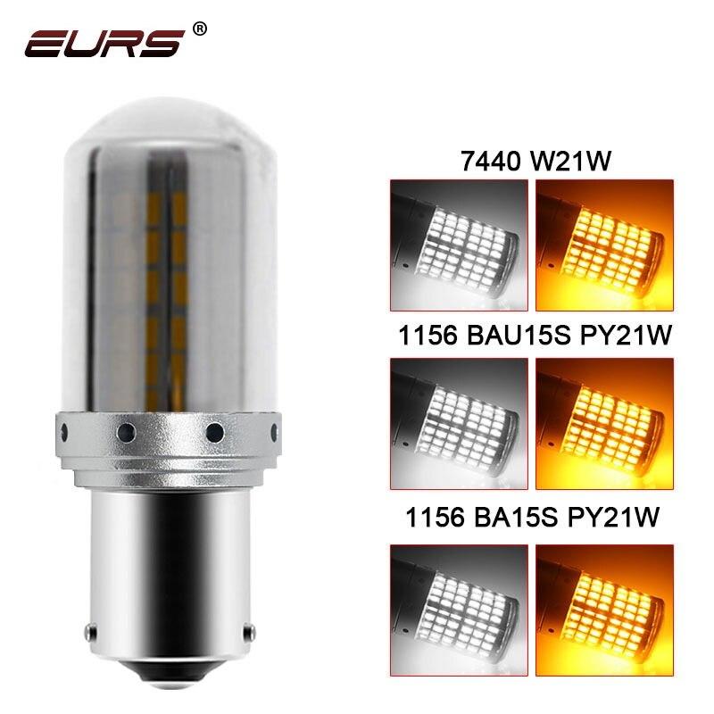 Светодиодсветодиодный лампы Canbus 1 шт., 1156 Ba15s T20 LED P21W W21W PY21W, без гипер-вспышки, автомобильные поворотники, парковочные огни 3014 144smd