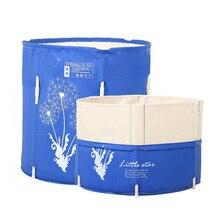Blue 70x70cm Portable Bath TUBS Adult Bathtub Adult Folding Bathtub Easy Cleaning Home Sauna Barrel with pump
