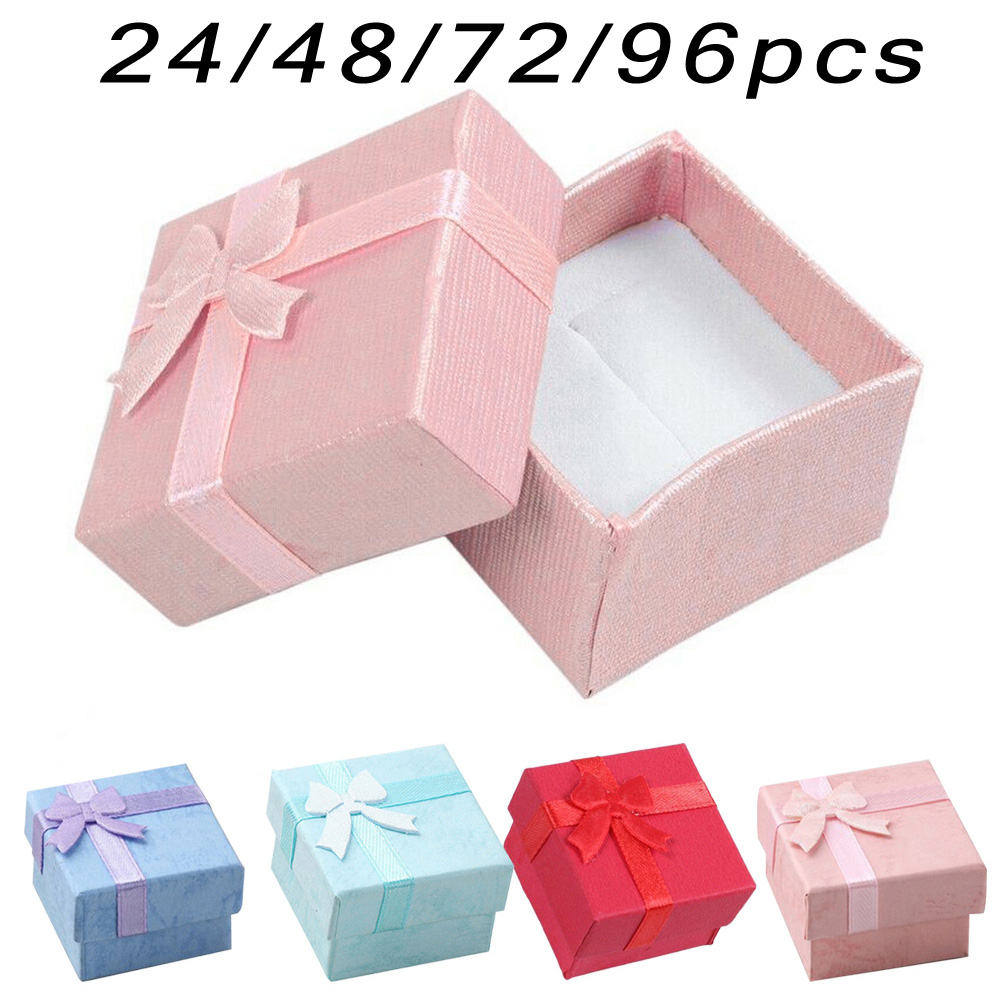 24/48/72/96/Set Kit de Cajas de Regalo cubo anillo joyero para aniversarios bodas fiesta niños regalo Decoración