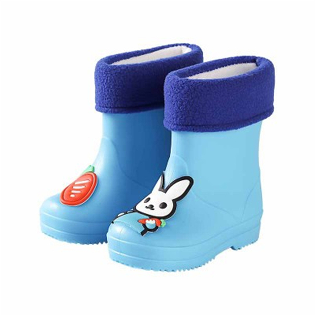 Botas de lluvia para niños pequeños, botas de goma de felpa antideslizantes, botas de cuero de dibujos animados para niños y niñas, zapatos de agua para niños 07A