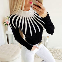 Black Mix White Line Women's Blouse Fashion Party Round Neck Long Sleeve Fall Top Women Elegant Office Girl Work Wear Blouse#G7(China)