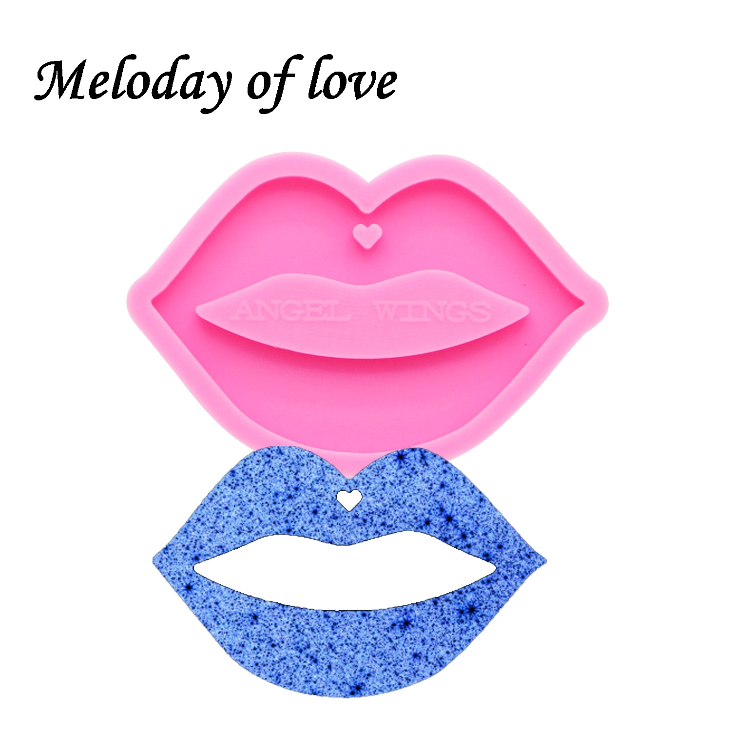 keychains moulds Shiny mouth shape molds for keychain DIY Lips resin keyring decoration jewelry silicone custom mold DY0170
