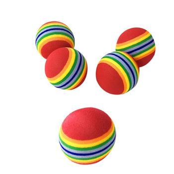 Cat Toys Ball Pet Supplies Play Chewing Rattle Scratch 3.5cm Rainbow Cat Toy Ball 1