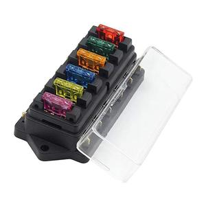 Car Van Ship Ocean 6 Way Chip Fuse Block Bracket With Cover + 6 Blade Fuse Block 12 V / 24 V Multicolor High Quality