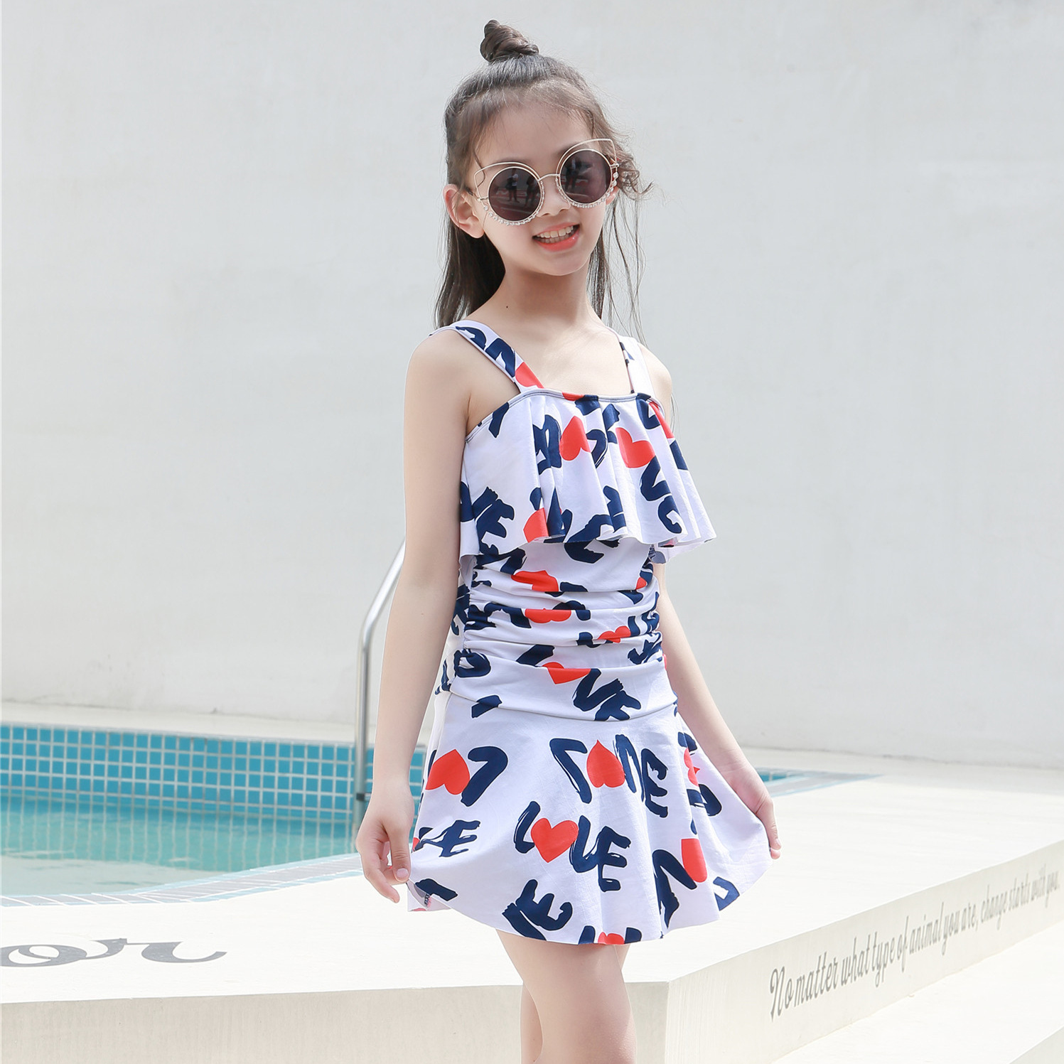 Korean-style Students Fashion Printed Conservative Belly Covering Large Hem One-piece Swimming Suit Boxer Underpants Deconstruct
