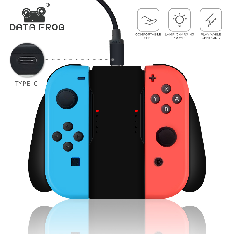 Data Frog Charging Grip Handle Bracket For Nintendo Switch  Joy-Con Controller Gamepad Comfort Grips Wheel Holder For Nintendo