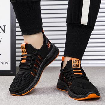 Męskie sportowe buty męskie siatkowe oddychające buty męskie sportowe do biegania lekkie latające tkane buty typu Tide tanie i dobre opinie peiyishuang Mesh (air mesh) CN (pochodzenie) Przypadkowi buty RUBBER Lace-up Pasuje prawda na wymiar weź swój normalny rozmiar