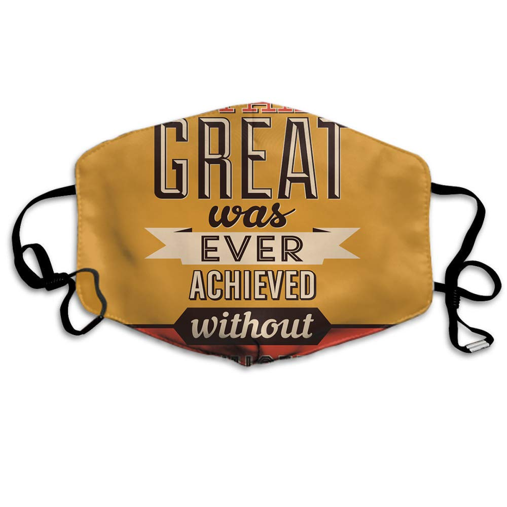 Swono Mask 8 Quote,Retro Poster Quote Design Nothing Great was Ever Achieved Without Enthusiasm Polyester Anti Dust Face image