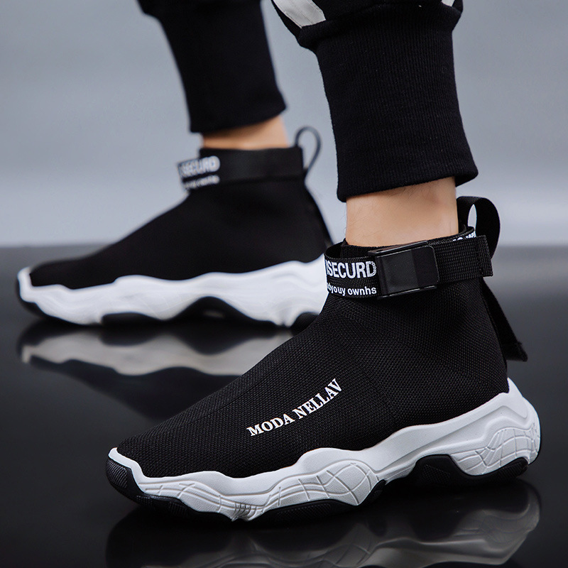 2019 New Sport Athletic Running Shoes Men Brand Sock Sneakers Lace-Up Breathable Jogging Trainers Male Boy Cool Walking Footwear 35
