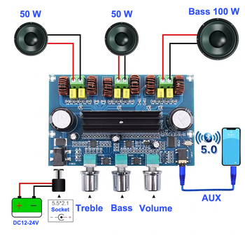 2*50W + 100W Bluetooth 5 0 podwójny TPA3116D2 płyta wzmacniacza subwoofera 2 1 kanałowy TPA3116 Audio Stereo equalizer AUX Amp tanie i dobre opinie GYKZ 50 w 3 (2 1) 2*TPA3116D2 2*50W(4ohm)+100W DC12~24V 4~8ohm Class D AUX Bluetooth 5 0 60mA 116*73*30mm
