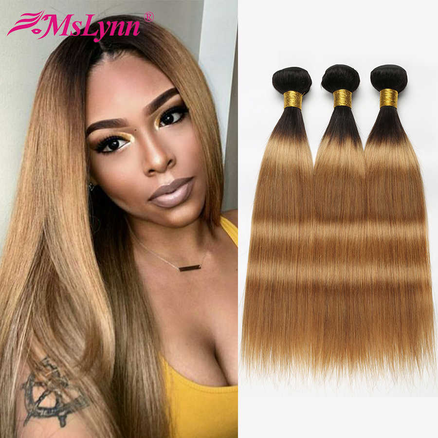 Ombre Hair Bundles Straight Hair Bundles T1B/27 Brazilian Hair Weave Bundles Blonde Human Bundles Hair Mslynn Remy Extension
