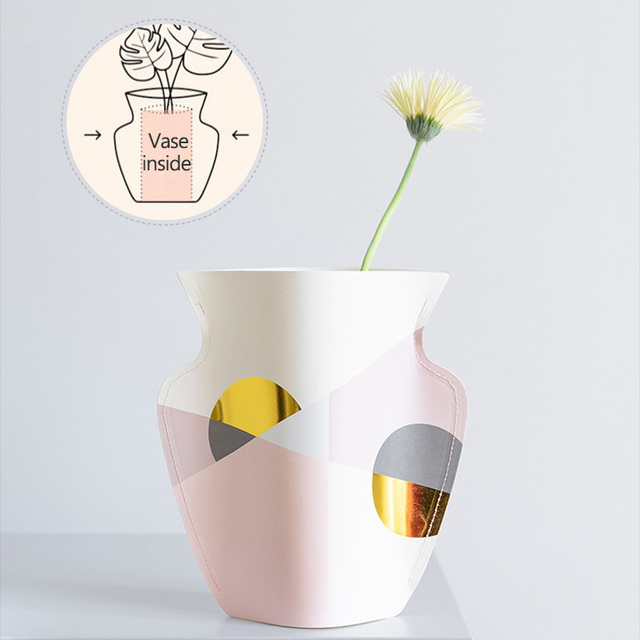 Strongwell Mediterranean Waterproof Paper Vase Double Sided Bronzing Face Geometry Nordic Flower Vase Desktop Home Decoration 2