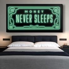 Dinheiro nunca dorme quadros da arte da lona posters e impressões inspiradoras frases quadros em tela na parede quadros da arte da casa decoração