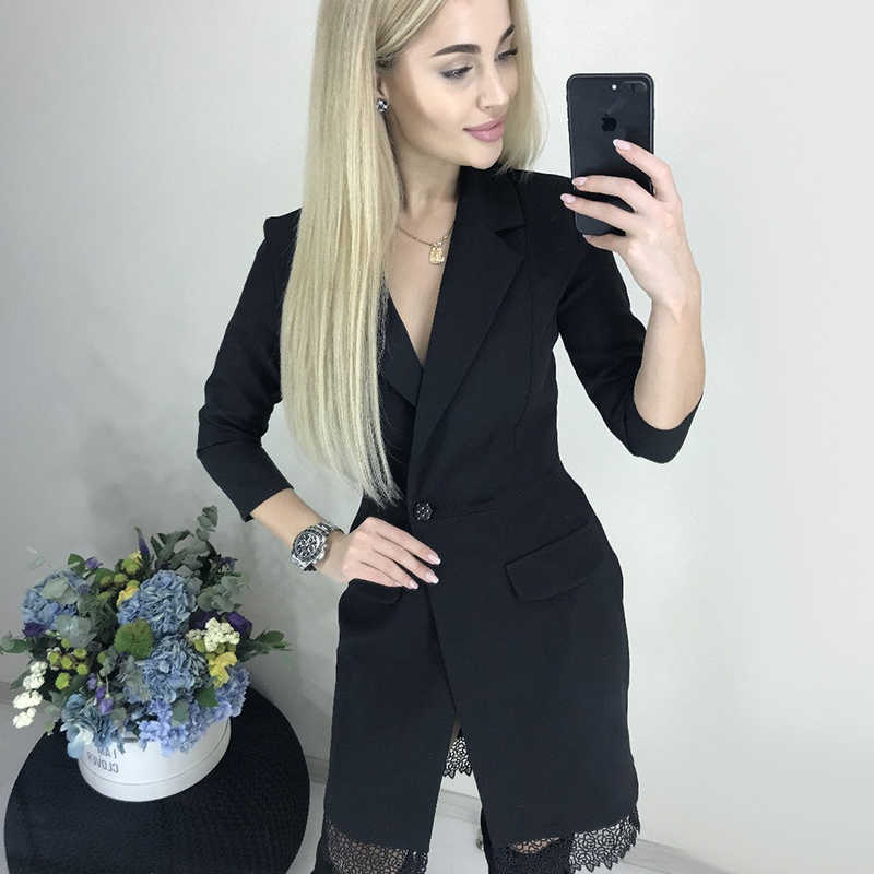 Women Lace Patchwork Elegant Dress Ladies Long Sleeve v Neck Sexy Party Club Dress 2019 Winter Fashion Shirt Dress