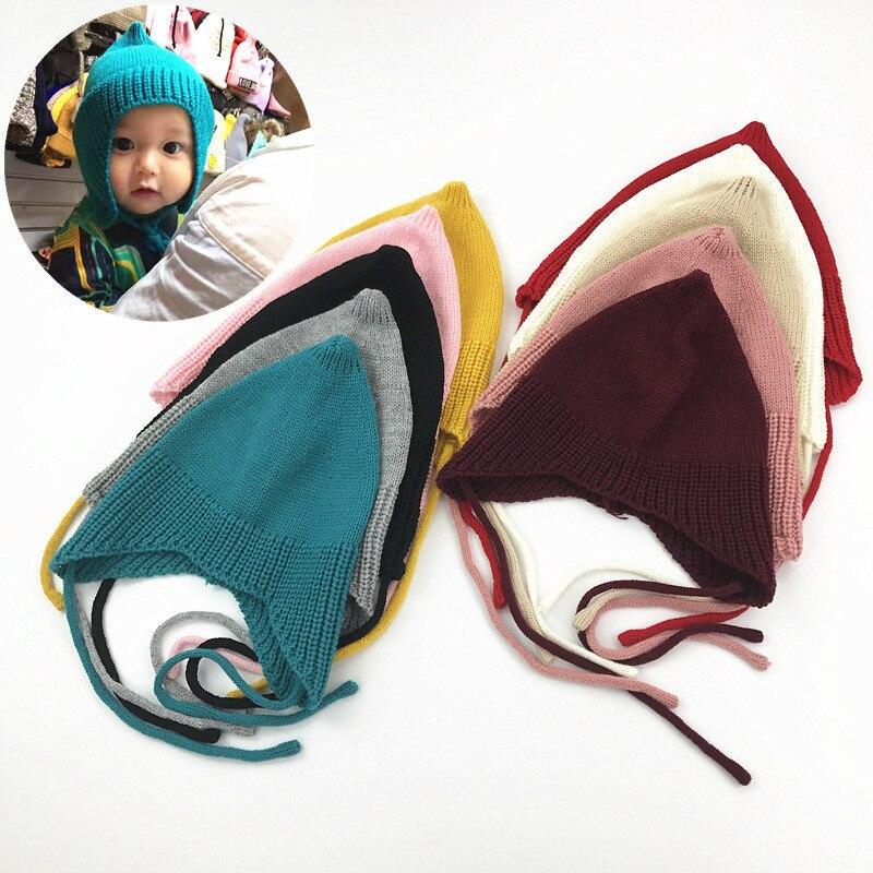 Bonito Da Criança Do Bebê Chapéu Morno do Inverno Tampas de Malha de Algodão Chapéus Recém-nascidos Meninas Infantis Gorros Bonnet Criança Acessórios
