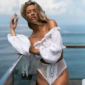 Женский купальник бикини, Пляжная блузка с открытыми плечами, летняя футболка