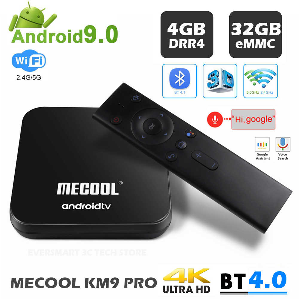 MECOOL KM9 PRO Android 9.0 TV Box Google certifié ATV 4GB DRR4 32GB Android 9.0 TVBox Amlogic S905X2 4K 2.4G 5G double Wifi BT4.0