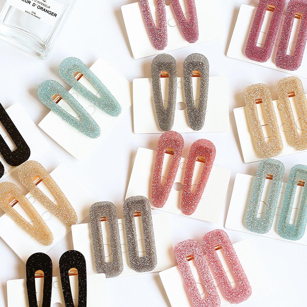 1pc Shiny Acetate Hair Clip For Women Girls Acrylic Geometric Rectangle Waterdrop Duckbill Barrette Hairpins Hair Accessories
