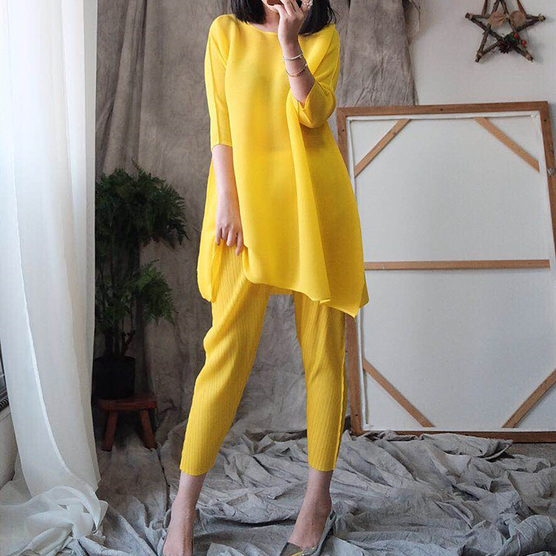 LANMREM 2020 New Spring Summer Round Collar Solid Color Short Sleeve Pullover T-shirt High Waist Pants Pleated Set Tide PD917