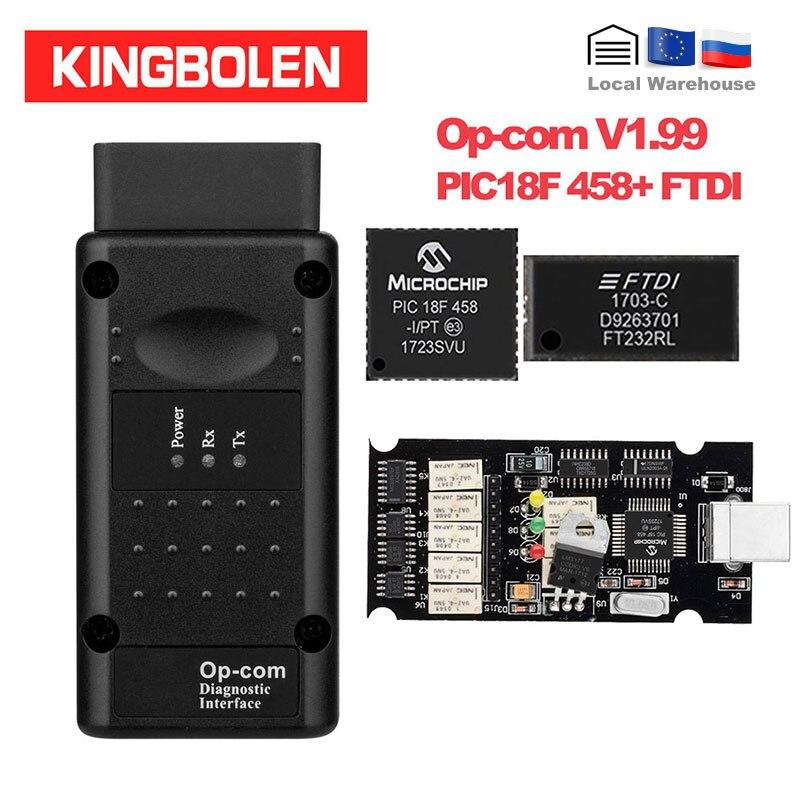 Opcom V1.99 PIC18F458/FTDI чип диагностический инструмент Can Bus для Opel OBD2 Автомобильный сканер Op-Com 1,99 canbus OBDII Op com