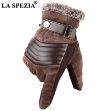 LA SPEZIA Brown Mens Leather Gloves Real Pigskin Russia Wint