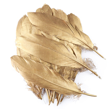 10Pcs/Lot Beautiful Gold Feathers Wedding Decoration Natural Big Goose Turkey Plume for Crafts Diy Handiwork Accessory Wholesale