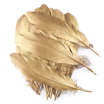 10Pcs/Lot Beautiful Gold Feathers Wedding Decoration Natural Goose Turkey Plumes for Crafts Diy Accessories  Wholesale