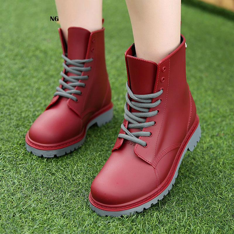 Buy Women Rain Boots Waterproof Non-slip Rubber Sole Low Heel Winter Shoes Female Fashion 2020 New Brand Design Ankle Boots