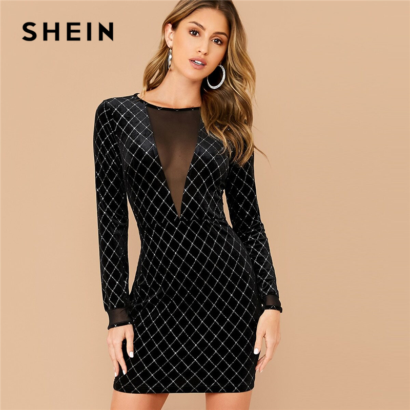 SHEIN Black Mesh Insert Rhinestone Detail Velvet Dress Women Spring Slim Fit Long Sleeve Glamorous Sexy Bodycon Mini Dresses 1